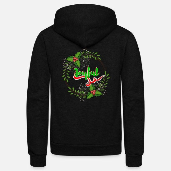 Christmas Hoodies & Sweatshirts - Cool Christmas Joyful Wreath - Unisex Fleece Zip Hoodie black