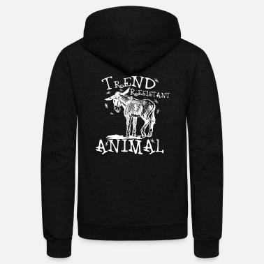 Trend Animal Trend Resistant Animal-White - Unisex Fleece Zip Hoodie