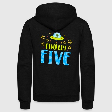 Birthday - Finally Five Year Old Boy Birthday - Unisex Fleece Zip Hoodie