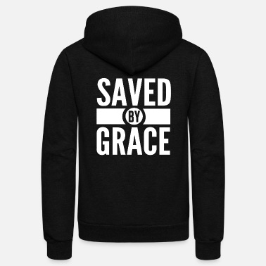 Religious Christian - saved by grace bible scripture verse - Unisex Fleece Zip Hoodie