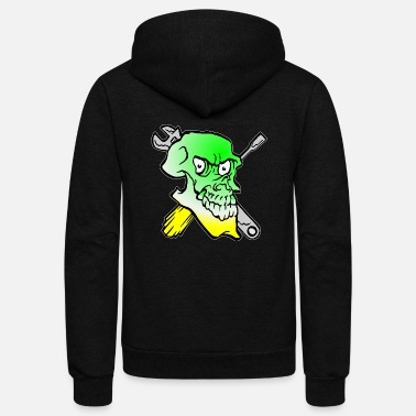 Wrench Green Skull Tattoo Mechanic Wrench - Unisex Fleece Zip Hoodie