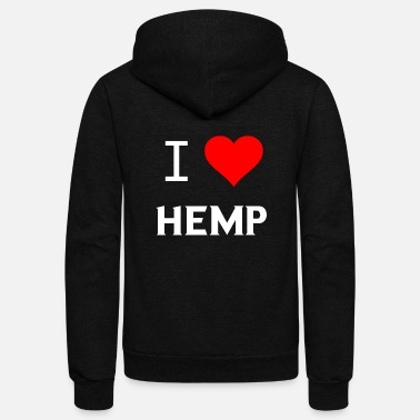 Hemp I Love Hemp Heart Gifts - Unisex Fleece Zip Hoodie