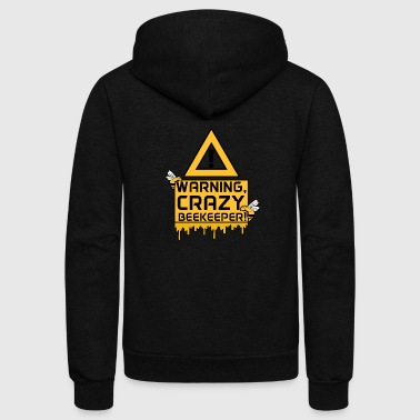 Warning, Crazy Beekeeper - Unisex Fleece Zip Hoodie