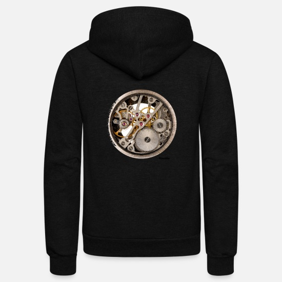 Steel Hoodies & Sweatshirts - clock / dial - Unisex Fleece Zip Hoodie black