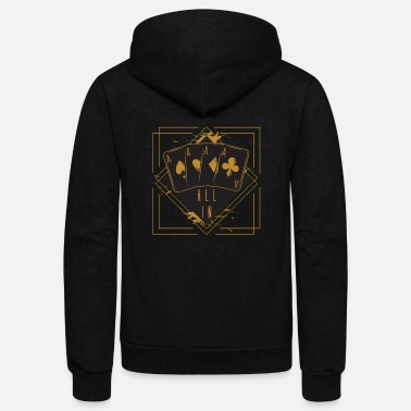 Black Jack Deck Ace All In Casino Gift Poker Black Jack - Unisex Fleece Zip Hoodie