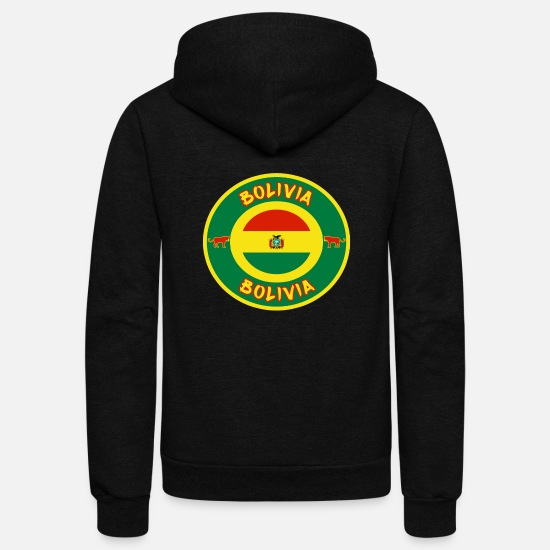 Gift Idea Hoodies & Sweatshirts - Bolivia Circle / Gift Present South America Flag - Unisex Fleece Zip Hoodie black