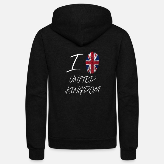 Proud Hoodies & Sweatshirts - I love United Kingdom Gift - Unisex Fleece Zip Hoodie black