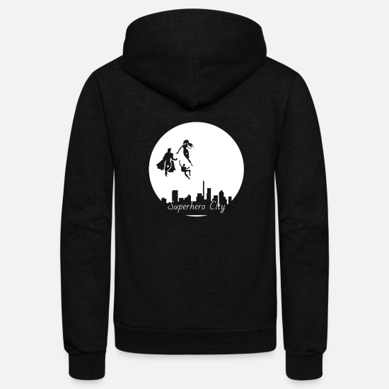 Geek Hoodies & Sweatshirts - Superhero City - Unisex Fleece Zip Hoodie black