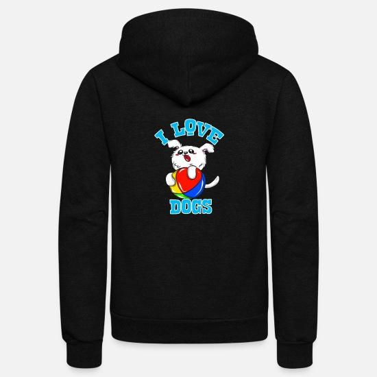 Pet Hoodies & Sweatshirts - I love dogs - Unisex Fleece Zip Hoodie black
