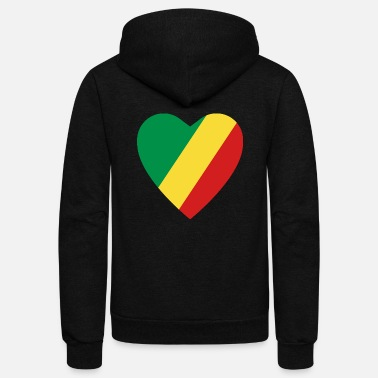 Congolese Girlfriend Congo-Brazzaville Flag Heart - Unisex Fleece Zip Hoodie