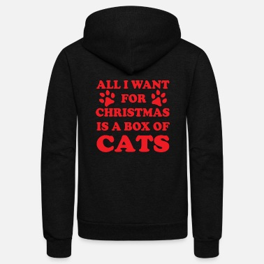 I Love All I Want For Christmas Is A Box Of Cats Christma - Unisex Fleece Zip Hoodie