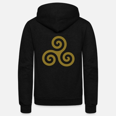 Gold Karma Triskelion Swirl Gold Metallic Ink - Unisex Fleece Zip Hoodie
