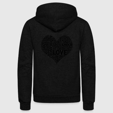 HEART I HEART LOVE - Unisex Fleece Zip Hoodie