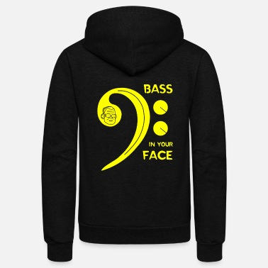 Bass Clef Bass - Bass in Your Face - Unisex Fleece Zip Hoodie