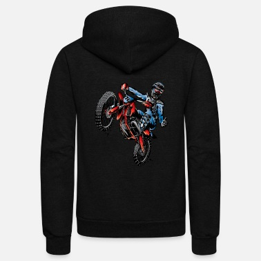 Stunt Motocross Dirt Bike Stunt Rider - Unisex Fleece Zip Hoodie