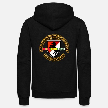 United 11th Armored Cavalry Regiment w SVC Ribbons - Unisex Fleece Zip Hoodie