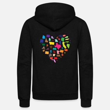 Heart United States - Unisex Fleece Zip Hoodie