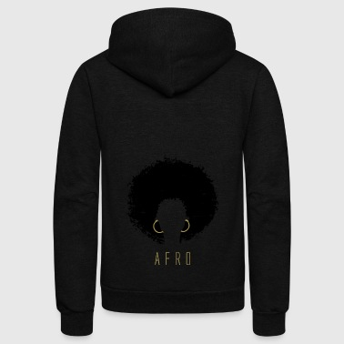 Black Afro American Latina Natural Hair - Unisex Fleece Zip Hoodie