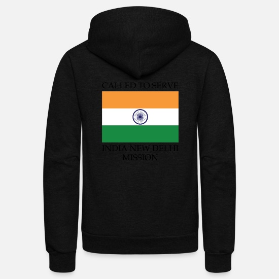 New Hoodies & Sweatshirts - India New Delhi LDS Mission Called to Serve Flag - Unisex Fleece Zip Hoodie black