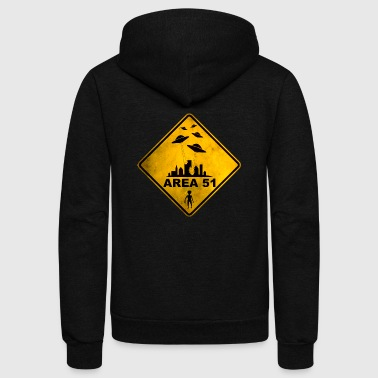 AREA 51 yellow warning road sign with UFOs. - Unisex Fleece Zip Hoodie