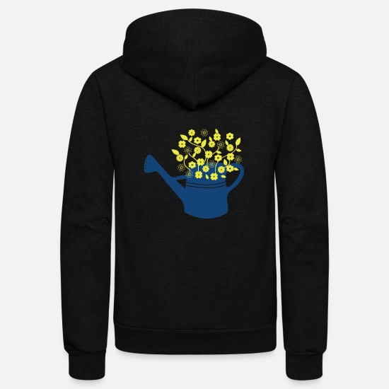 Spring Hoodies & Sweatshirts - Flower in watering can gift present idea - Unisex Fleece Zip Hoodie black