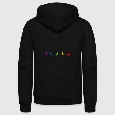 Heartbeats LGBT Rainbow T-shirt - Unisex Fleece Zip Hoodie