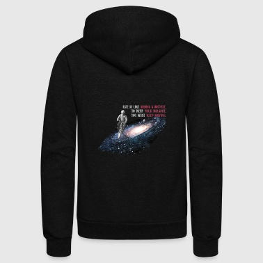 Albert Einstein Life is Like Riding a Bicycle - Unisex Fleece Zip Hoodie