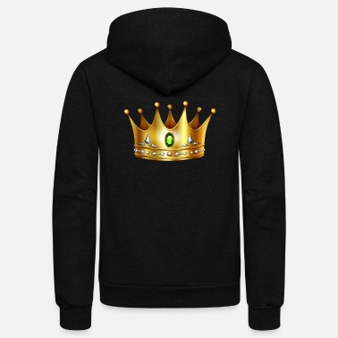 Golden Crown Golden Royal crown with precious stones cool art - Unisex Fleece Zip Hoodie