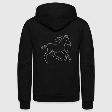 gallopping horse stallion Mare drawing stud ride - Unisex Fleece Zip Hoodie