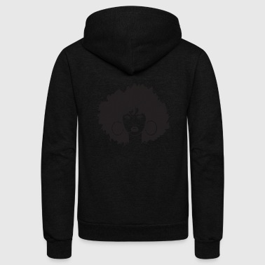 Black African Woman Happy Afro Face Retro 70s - Unisex Fleece Zip Hoodie