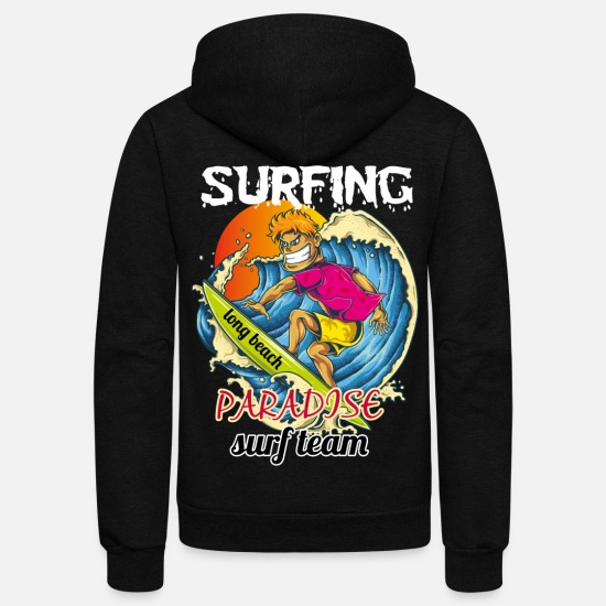 Team Bride Hoodies & Sweatshirts - surfing log beach paradise surf team - Unisex Fleece Zip Hoodie black