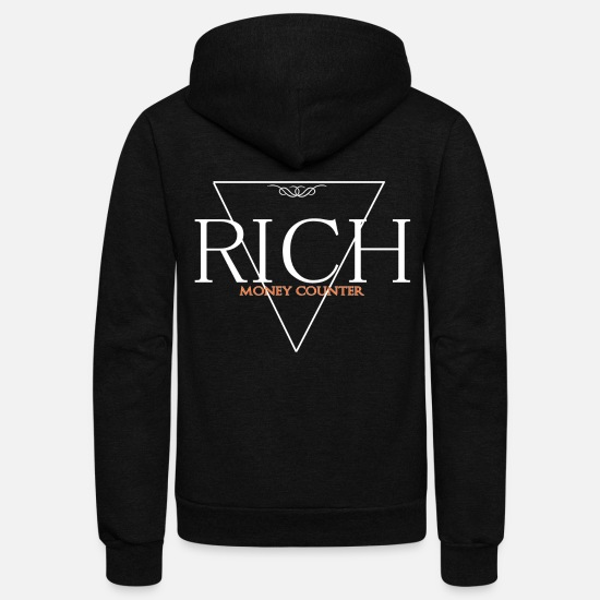 Moneygrubbing Hoodies & Sweatshirts - Rich Money Counter Dollar Tshirt - Unisex Fleece Zip Hoodie black