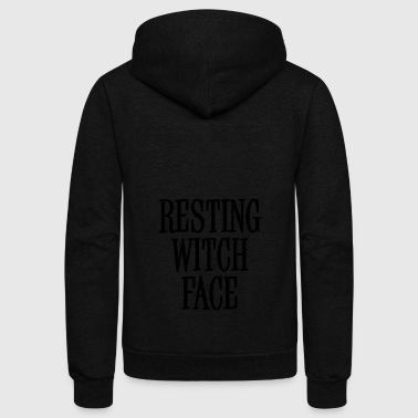 Resting Witch Face Black - Unisex Fleece Zip Hoodie