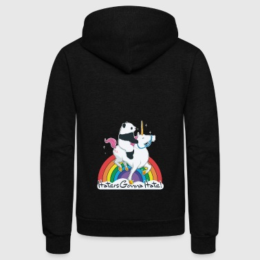 Haters gonna hate unicorn panda - Unisex Fleece Zip Hoodie