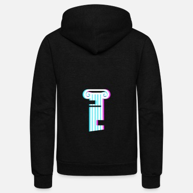 Column Glitch Vaporwave Greek Column - Unisex Fleece Zip Hoodie