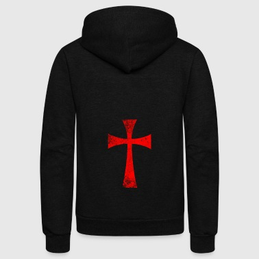 Distressed Crusader Knights Templar Cross - Unisex Fleece Zip Hoodie