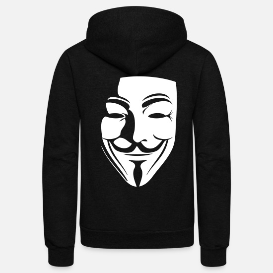 Hacker Hoodies & Sweatshirts - guy fawkes - Unisex Fleece Zip Hoodie black