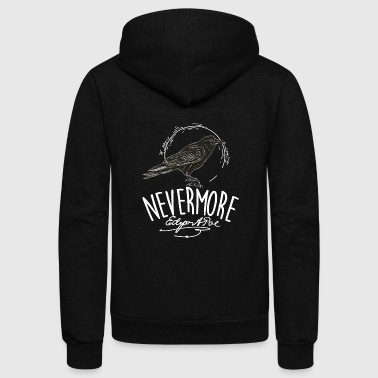 Raven Nevermore, the raven poem, Edgar Allan Poe - Unisex Fleece Zip Hoodie
