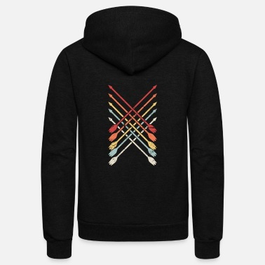 Archery Bow Hunting Retro Archery Bow Hunting Arrows - Unisex Fleece Zip Hoodie
