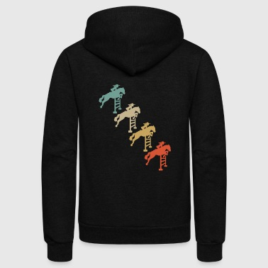 Show Jumping Retro Vintage Style Horses Riding Show Jumping - Unisex Fleece Zip Hoodie