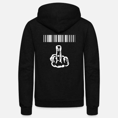 Provocation funny provocatively barcode Fuck Off middle finger - Unisex Fleece Zip Hoodie