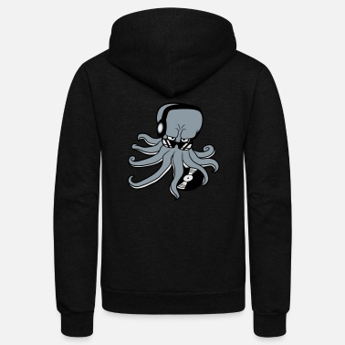 Dj-octopus-music sunglasses dj music party celebrate dancing club d - Unisex Fleece Zip Hoodie
