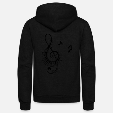Music Note Clef with piano and music notes, i love music. - Unisex Fleece Zip Hoodie