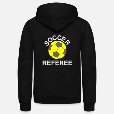 Referee Soccer Referee White Text - Unisex Fleece Zip Hoodie