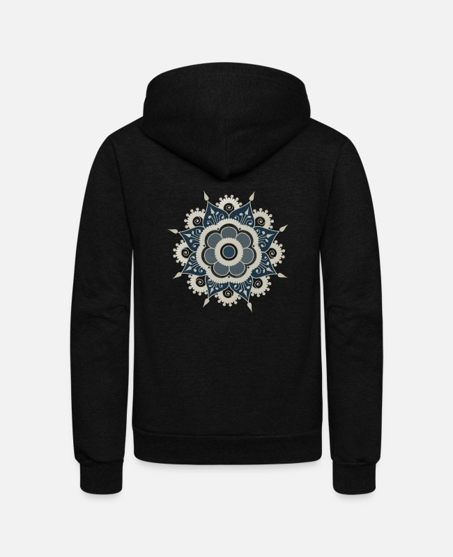 Pattern Hoodies & Sweatshirts - Henna Flower Mandala Tattoo - Unisex Fleece Zip Hoodie black