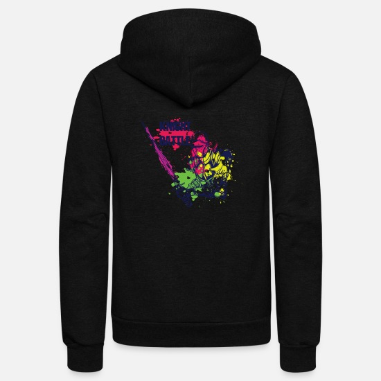 Shield Hoodies & Sweatshirts - KNIGHT BATTLE COLORFUL - Unisex Fleece Zip Hoodie black