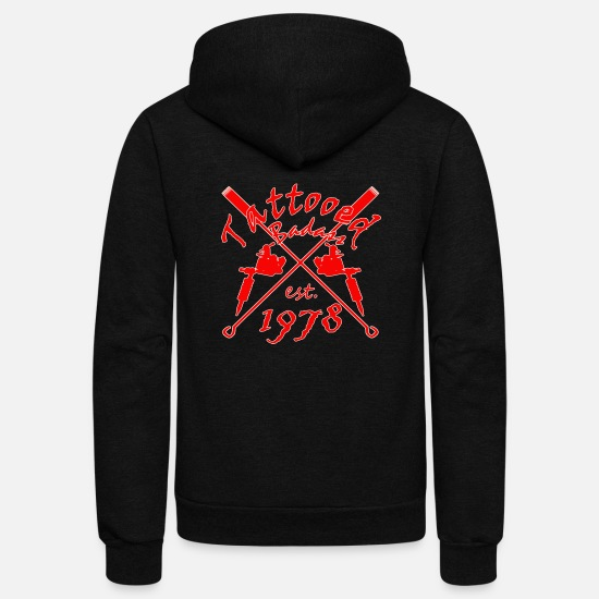 Established Hoodies & Sweatshirts - 1978 Tattooed Badass - Year of birth - Tattoo Gift - Unisex Fleece Zip Hoodie black
