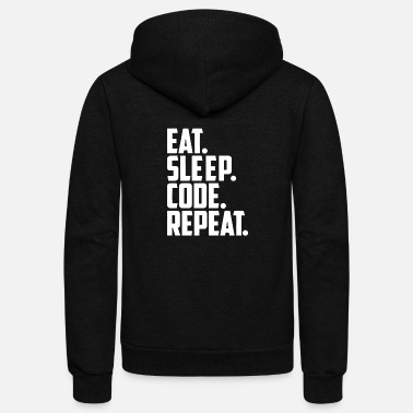 Code eat sleep code and repeat - Unisex Fleece Zip Hoodie