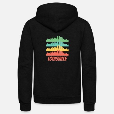 Louisville Retro Louisville KY Skyline Pop Art - Unisex Fleece Zip Hoodie