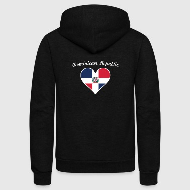 Dominican Republic Flag Heart - Unisex Fleece Zip Hoodie